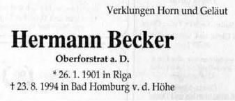 Hermann Becker , Oberforstrat a. D.